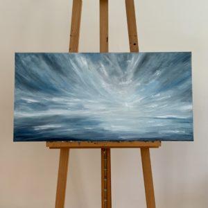 Abstraktní olejomalba. Panorama. Barvy světle modrá bílá, šedá.